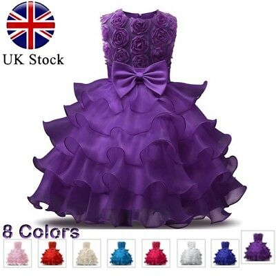 Kids Baby Girls Princess Dress Bridesmaid Wedding Pageant Party Bow Tutu Dresses