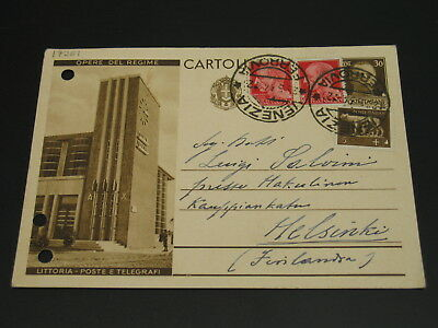 Italy 1934 picture postal card to Finland pin holes *17281