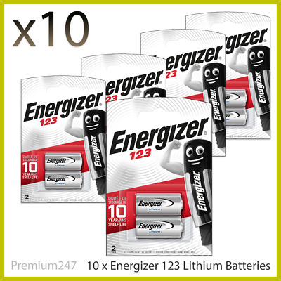 10 x Energizer CR123 CR123A 123 3v Lithium Photo Battery Longest Expiry Date