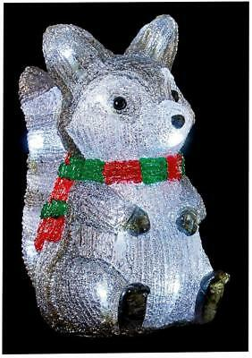 Xmas Decor 25cm Acrylic Raccoon 20 LEDs and Timer In & Outdoor