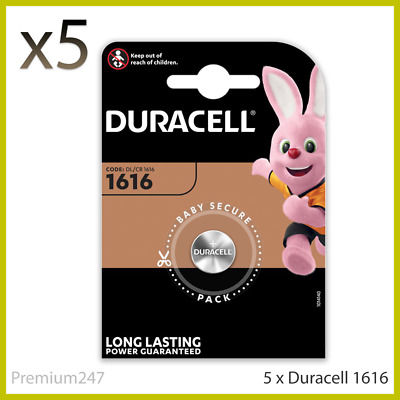 5 x Duracell CR1616 3V Lithium Coin Cell Battery DL1616 1616 LONGEST EXPIRY