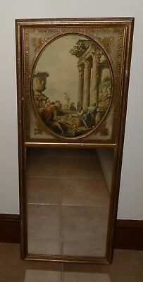 Antique French Trumeau Mirror - 37 x 98 cm - Painted & Gilt Wooden Frame