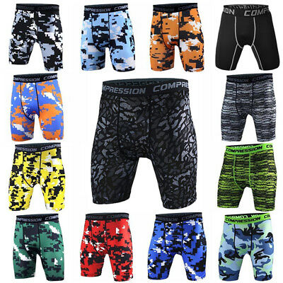 Men's Compression Shorts Sports Running Training Camo Spandex Bottoms Cool Dry