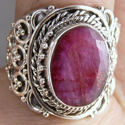 FILIGREE LACE Vintage Silversari Ring Size US 7.25 Solid 925 Silver INDIAN RUBY