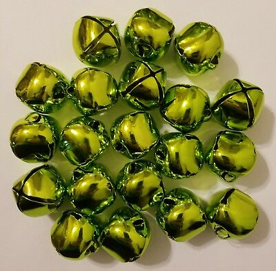 Lot of 20 pcs 30mm Bright Lime Green Shiny Metal Jingle Bells Christmas Crafts