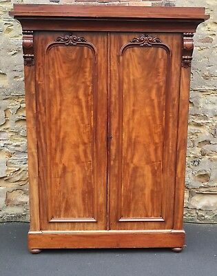 Large Victorian Mahogany Two Door Fitted Wardrobe