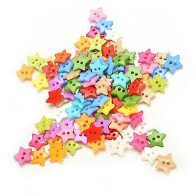100 Pcs/lot Plastic Buttons Sewing DIY Craft decals for Children Star X6C2