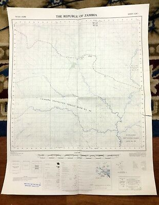 Vintage Map Africa  Republic of Zambia Government Chinuma Forest 1970