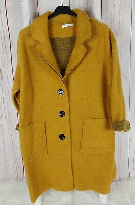 MADE IN ITALY Mantel Long-Jacke Wolle oversized Wintermantel Blogger gelb 36-42