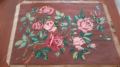 Beautiful Completed Needlepoint Tapestry Panel Cushion Front Roses on Chocolate