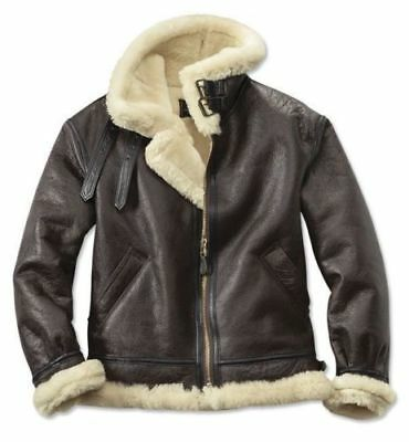 Men s B3 Aviator RAF Real Shearling Brown Sheepskin Leather Flight Bomber  Jacket 32ed47f44