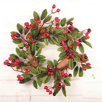 40cm Christmas Wreath Red Berry Pine Cones Xmas Hanging Garland Ornament Gift