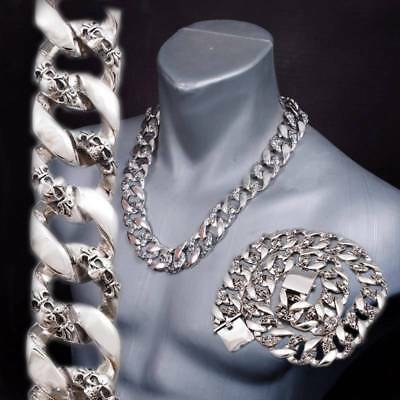 "24"" 358g HEAVY CHUNKY BIKER CURB CHAIN SKULL 925 STERLING SILVER MENS NECKLACE"
