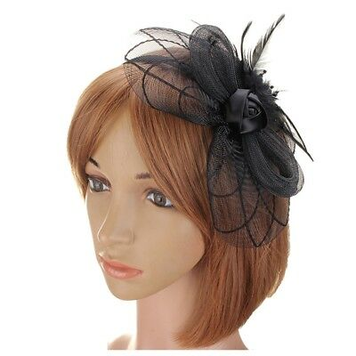 Flower Feather Fascinator Headband Hat Wedding Prom Ladies, Black D7L8