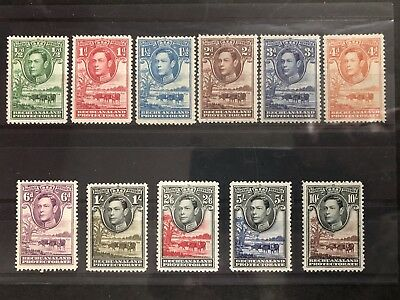 Bechuanaland 1938-52 KGVI. Complete set of 11. MH. SG 118-128.