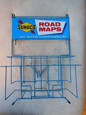 Sunoco Road Map Rack 1960's Service Station Display Go With Confidence