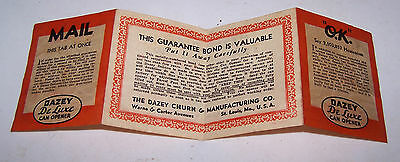 1935 DAZEY De Luxe CAN OPENER Guarantee Warranty Card Pamphlet