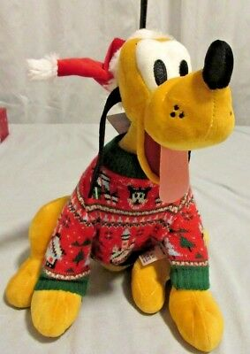 Disney World 2018 Christmas Pluto in Holiday Sweater Plush Brand New