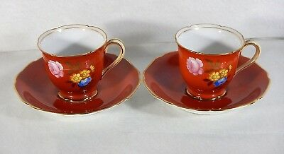 Set of 2 Vintage NORITAKE (M) Hand Painted Flowery Rust Color Cups and Saucers