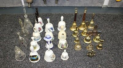 30  Collection Of Vintage Brass ,china , Glass Bells