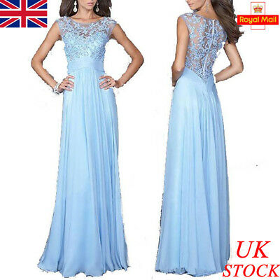 UK Womens Lace Sleeveless Evening Party Dress Gown Formal Cocktail Wedding Prom