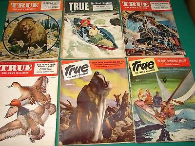 """8 - """"TRUE - The Man's Magazine"""" back issues - Petty and Vargas pin-up pages."""