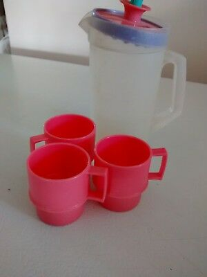 5 PC. VINTAGE TUPPERWARE TUPPERTOYS CHILDS TOY 3 mugs,pitcher &Lid,pink