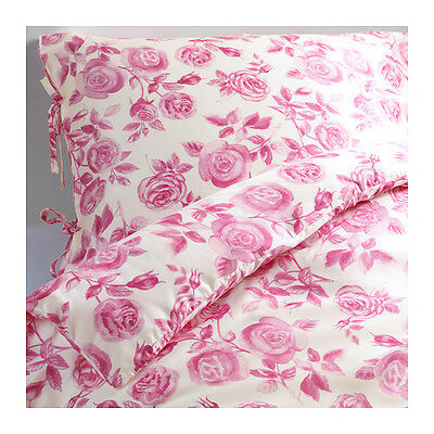 Duvet Quilt Cover pillowcase IKEA EMELINA ROS Floral Pink White Rose TWIN Lyocel