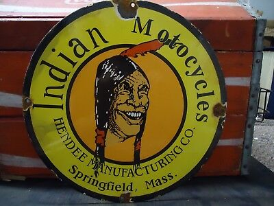 Old Vintage Indian Motorcycles Porcelain Advertising Sign Springfield, Mass.
