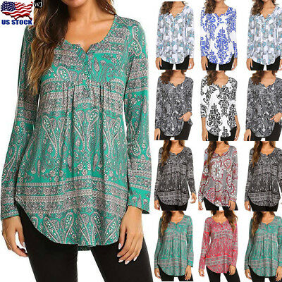 Women Loose Long Sleeve Casual Floral Print T Shirt Tunic Tops Fashion Blouse US