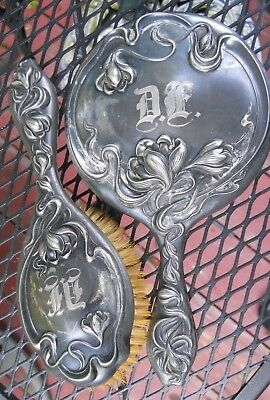 Antique Silver Plated Mirror and Hair  Brush / ART NOUVEAU