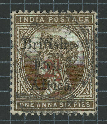 BRITISH EAST AFRICA KUT 1895 2.5/1a6p OVERPRINT ON INDIA VFU