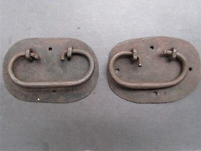 2 Early 1800s Primitive Hand Forged Iron Trunk Handles Antique Hardware
