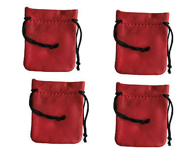 """4 Red Genuine Leather Small 3"""" Drawstring Pouch Bag Jewelry Coin Renaissance"""