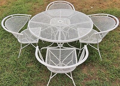 Mid Century Vintage 5pc SALTERINI White Wrought Iron Patio Table Chairs Set 5241