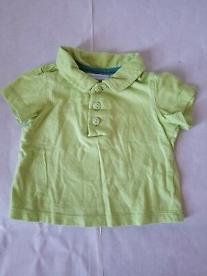 First Impressions Boys Shirt Cotton  6-9 Months Lime Green Short Sleeves Collar