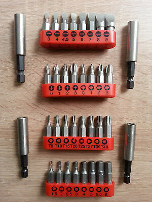 GENUINE BOSCH SCREWDRIVER BITS x4 DIFFERENT 8pc SETS x4 MAGNETIC BIT HOLDER 99p