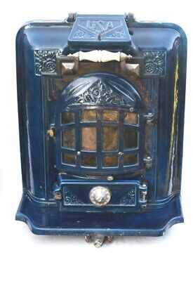 Beautiful french antique Rare Seldom Royal Blue Chimnee Cast Iron Log Burner