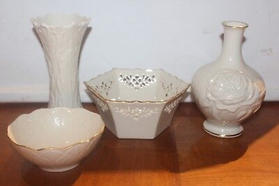 Lot of 4  Lenox China  2 Bud Vases and 2 Candy Dishes