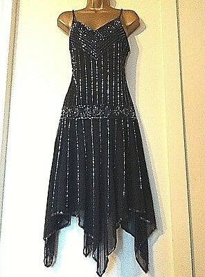 New Look Uk 12 Vintage Style 1920s Beaded Gatsby Flapper Deco Sparkly Dress 40
