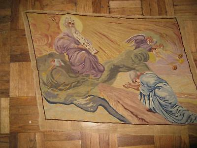 Antique French Needlepoint Petit Point Tapestry Moses Angels Wall Hanging Large