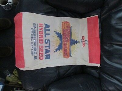 OLD cloth IOWA MISSOURI brand 50 lbs. seed corn sack
