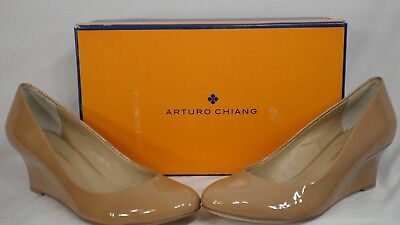 bf8b05912305 Arturo Chiang  Analin  Adobe Nude Patent Leather Wedge Pump Women Size ...