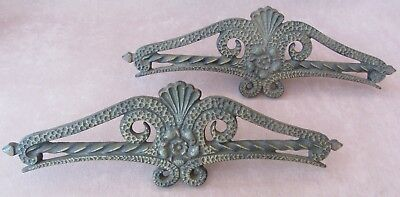 Pair Vintage Decorative Curtain Rod Centers Header Clip On Gold Cast Iron Ornate