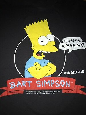Bart Simpson 1990 The Simpson's  Gimme a Break T Shirt Vtg 90s Black