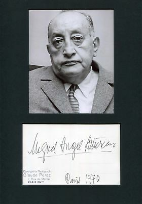 Miguel Angel Asturias NOBEL PRIZE autograph, signed postcard mounted