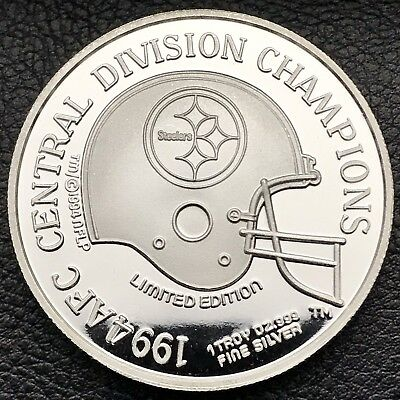 AFC Central Division Champs Steelers 1oz .999 Silver Coin 500 Minted (2021)