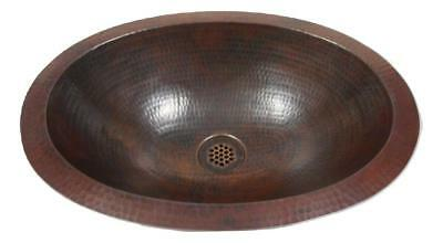 "Small Rustic 16"" x 12"" Oval Copper Bath Sink Dual Mount with 19-Hole Grid Drain"
