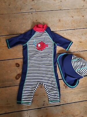 Baby boy swimsuit and sun hat 9-12 months