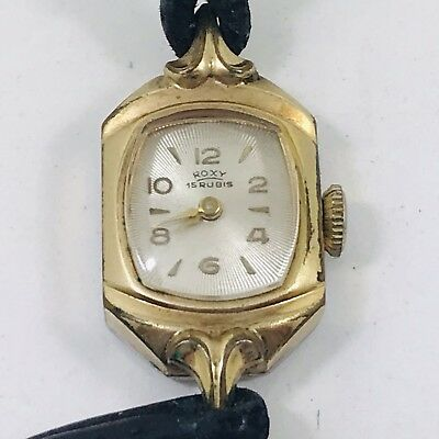 VINTAGE ROXY COCKTAIL WATCH on leather strap 15 Rubis Swiss not working